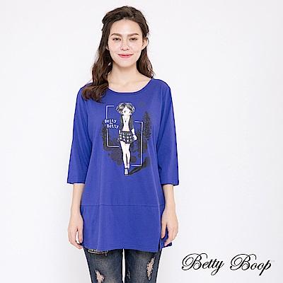Betty Boop貝蒂 開衩傘襬七分袖柔棉上衣(共兩色)