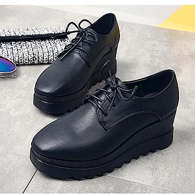 KEITH-WILL時尚鞋館 英倫風巴洛克復古系帶粗跟厚底鞋-黑色
