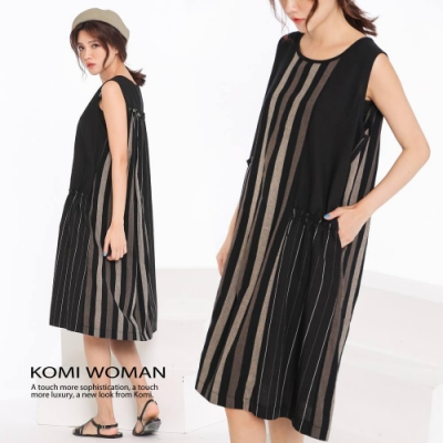 【KOMI】棉麻條紋小荷葉背心口袋洋裝