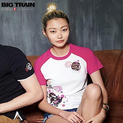 Big Train 蝶姬拉克蘭袖彈性女T-女-牙白