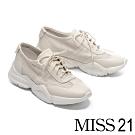 休閒鞋 MISS 21 率性舒適沖孔造型全真皮厚底休閒鞋-白