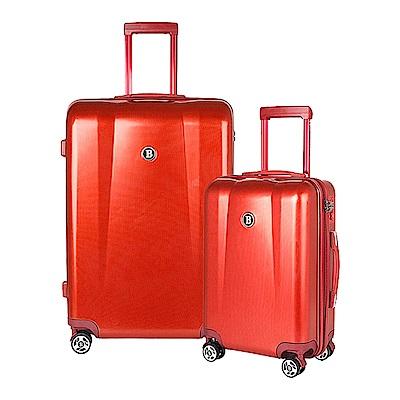 BENTLEY 28吋 20吋 PC ABS 蜂巢纹拉鍊款輕量行李箱 二件組-紅