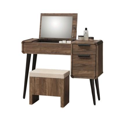 D&T 德泰傢俱 Marc 北歐生活 3尺掀鏡台椅組 -91x40x75.5cm