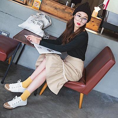 高含棉魚尾巴蕾絲藤編設計中長裙-OB大尺碼