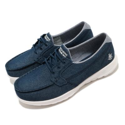 Skechers 休閒鞋 Go Walk Lite 帆船鞋 女鞋 無鞋帶 好穿脫 郊遊 輕量 回彈 避震 藍 白 136072DEN