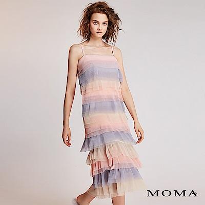MOMA可拆式粉調壓褶洋裝
