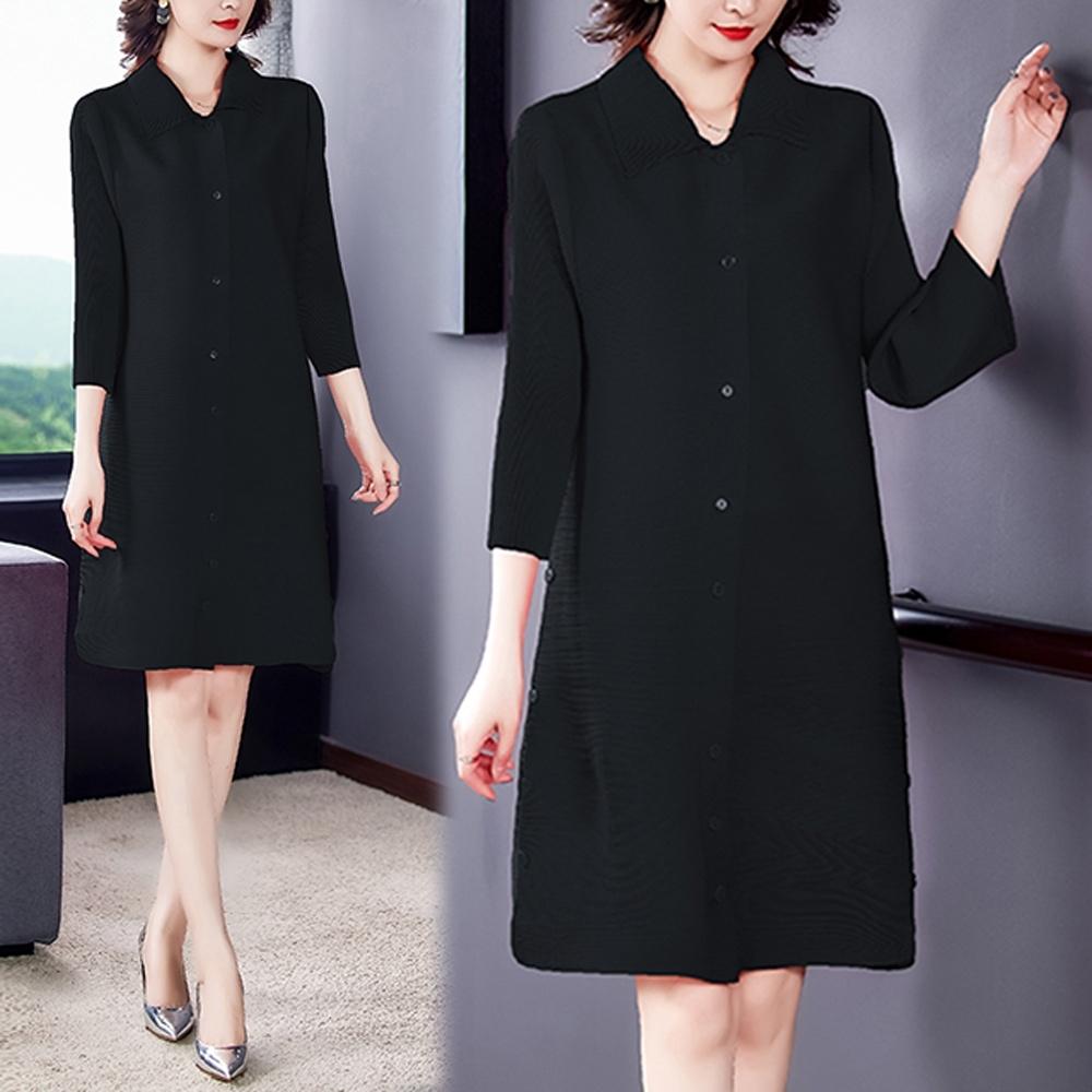 【KEITH-WILL】(預購)韓國氣質韓版休閒壓褶洋裝(共2色) (黑色)