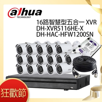 【大華dahua】套餐-奢華版16路16鏡(主機+16攝影機+3配件)