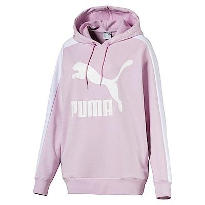 PUMA-女性流行系列No.1 Logo T7長厚連帽T恤-活力粉紫-歐規