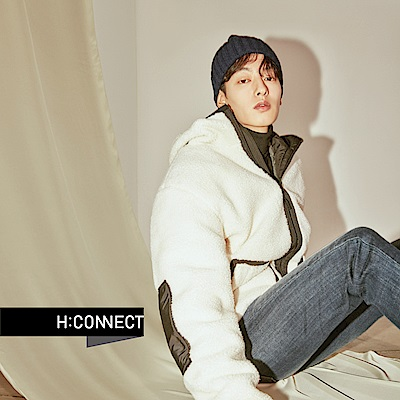 H:CONNECT 韓國品牌 男裝-微彈水洗刷色牛仔褲-藍