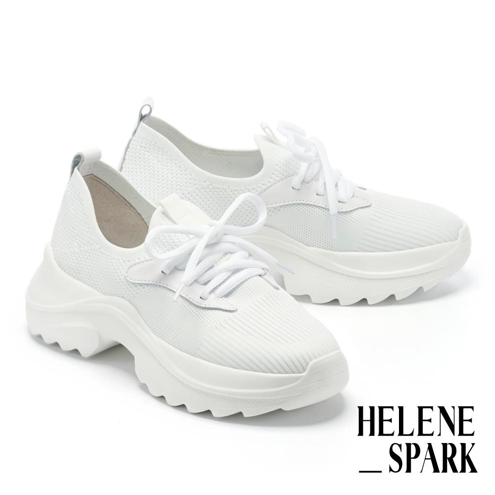 休閒鞋 HELENE SPARK 簡約率性飛織綁帶老爹厚底休閒鞋-白