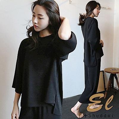 正韓寬版無印兩件式休閒褲套裝-黑色El Shuddai