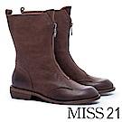 中筒靴 MISS 21 帥氣個性拉鍊造型全真皮低跟中筒靴-咖