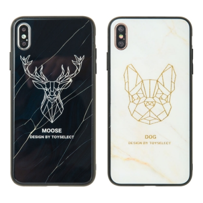 【TOYSELECT】iPhone XR 大理石幾何玻璃殼