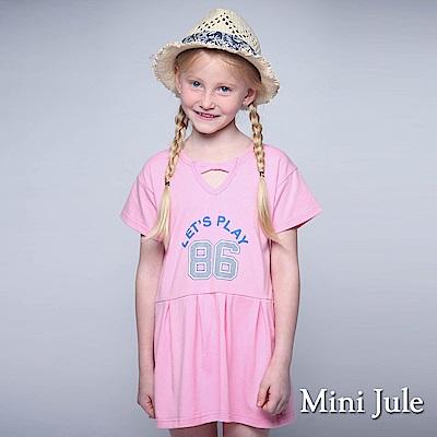 Mini Jule 童裝-洋裝 休閒86星星印花V領短袖洋裝(粉)