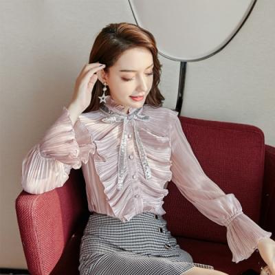 設計所在Lady-內搭衫修身襯衫荷葉邊公主袖雪紡上衣(S-XL可選)