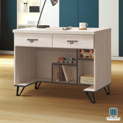 Hampton安娜利鋼刷白3.5尺雙抽書桌-106x58x82cm