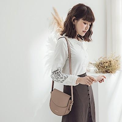 細膩花朵刺繡磨毛襯衫-OB大尺碼