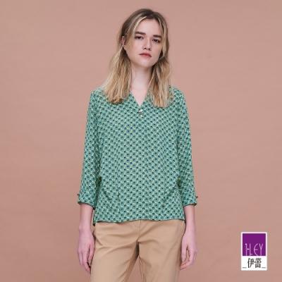 ILEY伊蕾 俏麗幾何圖形雪紡上衣(綠)