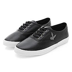 PLAYBOY潮流最IN 極簡仿皮綁帶休閒鞋-黑