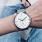ADEXE 英國時尚手錶 THEY三眼系列 銀錶盤x銀錶框米蘭錶帶41mm