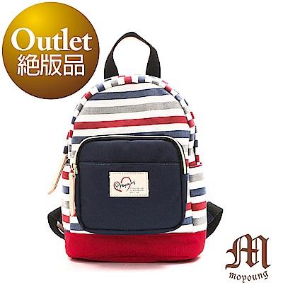 Moyoung 條紋親子系列-mini包  繽紛紅