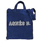 agnes b.水洗單寧帆布手提/斜背包(藍)