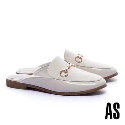 穆勒鞋 AS 經典復刻時尚馬銜釦漆皮低跟穆勒拖鞋-白
