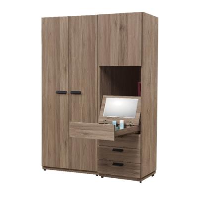 文創集 多德蒙4.5尺衣櫃(吊衣桿+三抽+鏡面抽屜+開放層格)-135x60x197免組