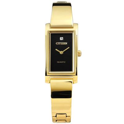CITIZEN 秀氣細緻晶鑽刻度日本機芯不鏽鋼手錶-黑x鍍金/14mm
