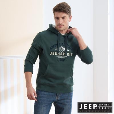 JEEP 經典美式長袖刷毛連帽TEE-綠色