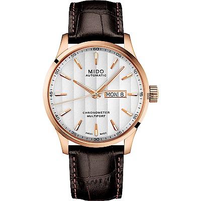 MIDO 美度 Multifort 先鋒系列80小時天文台矽游絲機械錶-玫塊金框x42mm