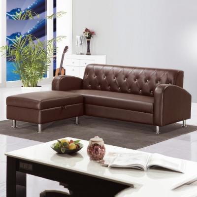 MUNA 戴爾咖啡色L型皮沙發(全組) 190X162X80cm