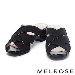 拖鞋 MELROSE 簡約編織交叉鬆緊帶粗跟拖鞋-黑