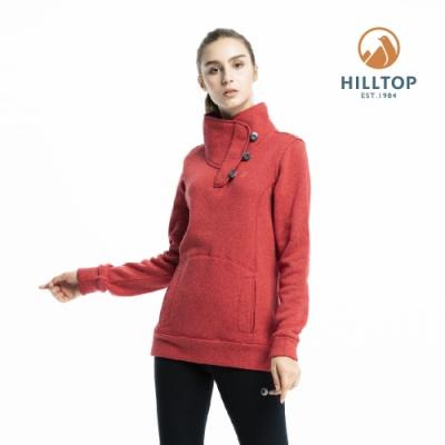 【hilltop山頂鳥】女款ZISOFIT保暖吸濕快乾刷毛上衣H51FJ0紅