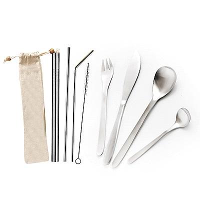 AURA艾樂 京匠不鏽鋼餐具4件組+環保吸管4件組附收納袋