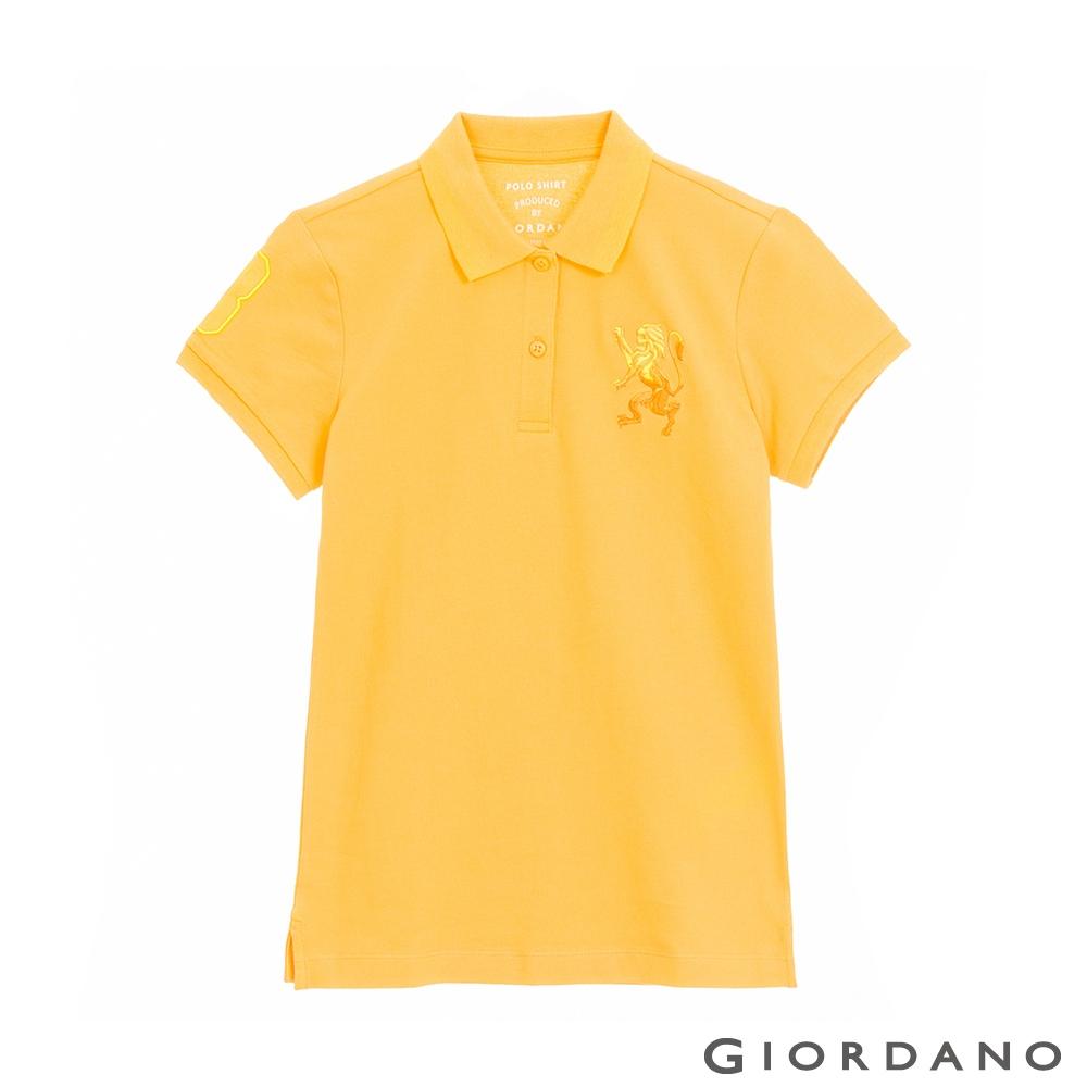 GIORDANO  女裝勝利獅王刺繡POLO衫 - 14 水仙花黃