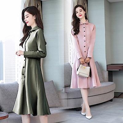 簡約純色翻領單排中長裙洋裝M~2XL(共三色)-REKO