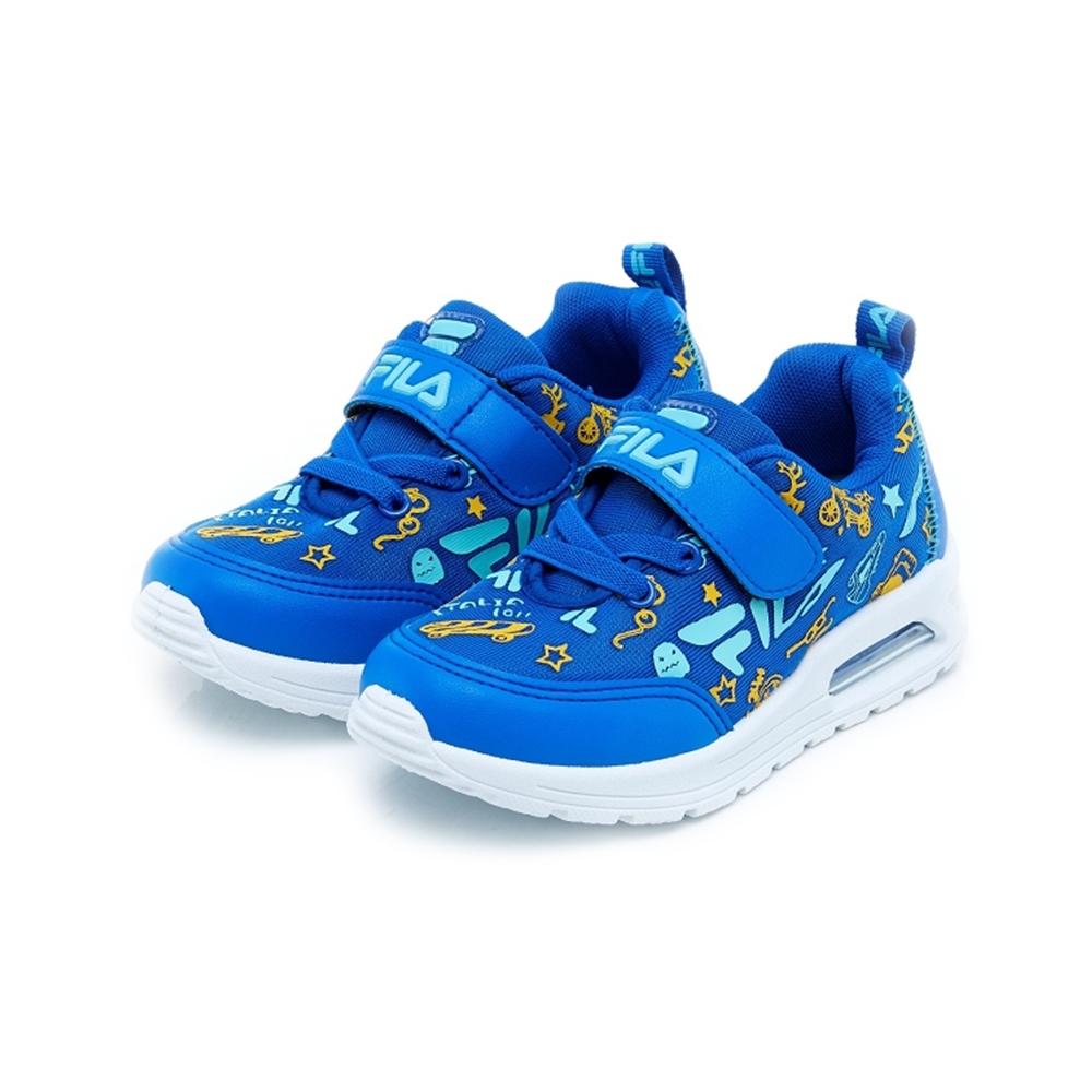 FILA KIDS 中童PVC射出氣墊慢跑鞋-藍黃 2-J830U-333