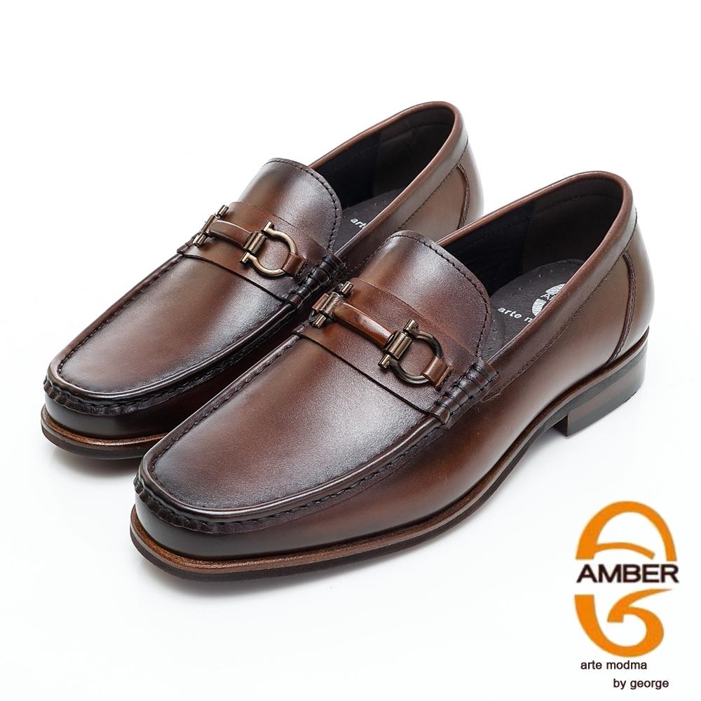 AMBER經典系列漸層皮革金屬扣環直套式紳士鞋方頭鞋-深咖啡