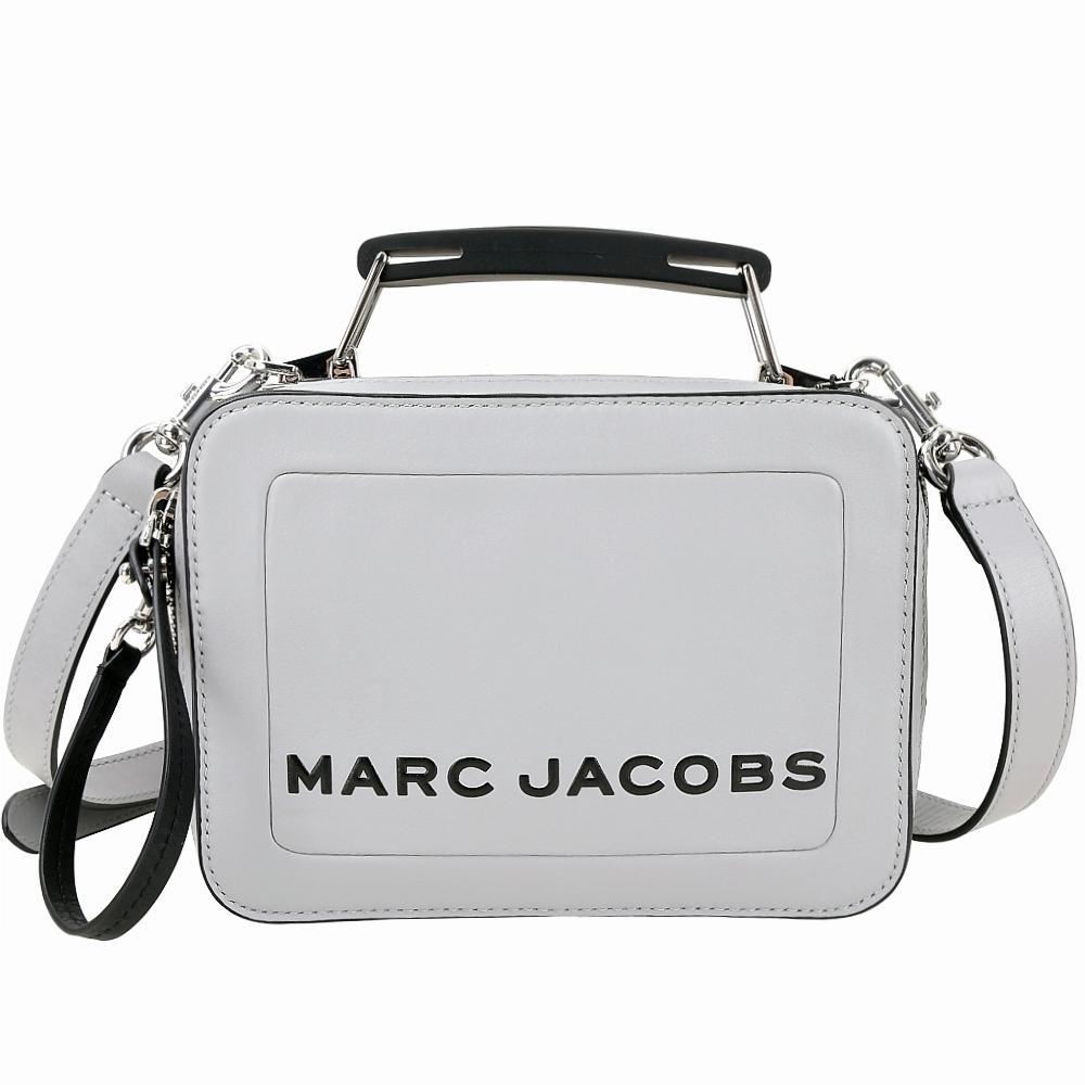 MARC JACOBS THE BOX 小型雙拉鍊牛皮手提/肩背兩用包(淺灰)