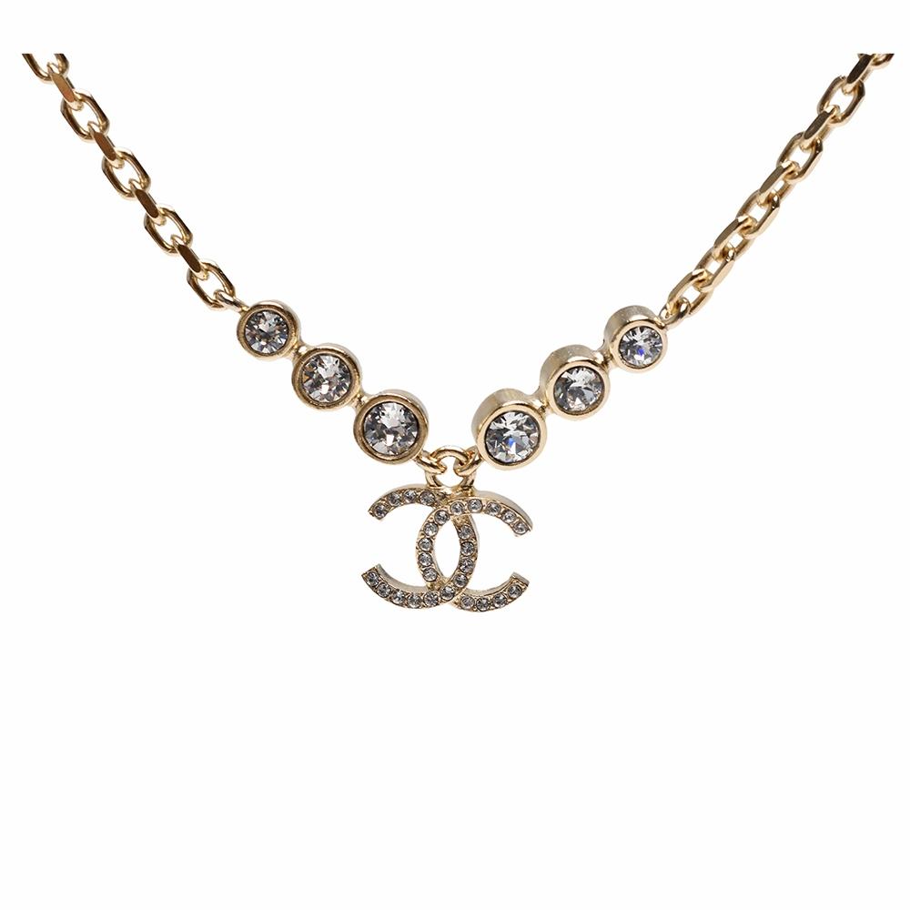 CHANEL 經典雙C LOGO 6顆水鑽鑲飾造型項鍊(金)