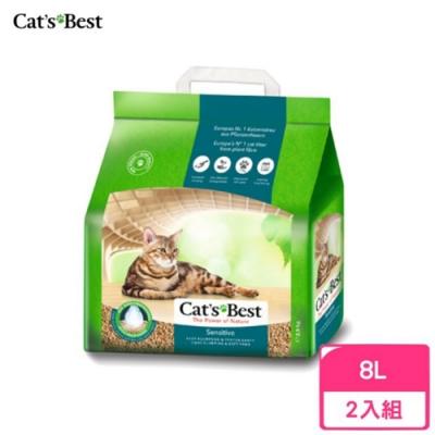 德國凱優Cat′s Best-強效除臭凝結木屑砂(黑標凝結型) 8L/2.9kg 兩包組