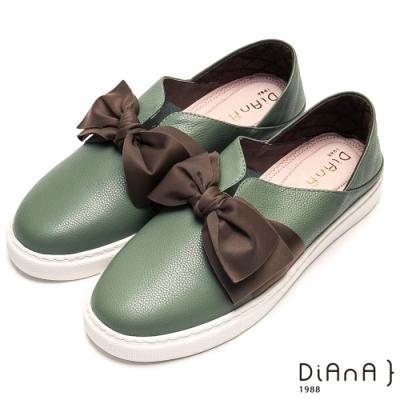 DIANA甜美大蝴蝶結V字鞋口輕量休閒鞋-漫步雲端厚切輕盈美人-咖x綠
