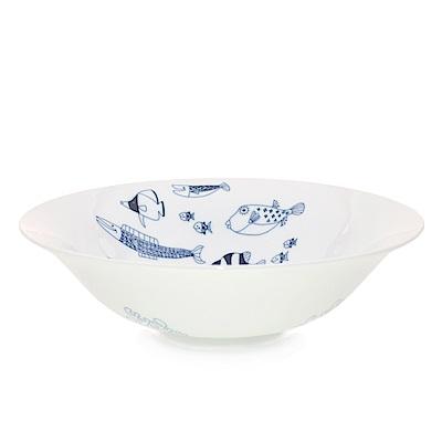 Natural69 波佐見燒 CocoMarine系列 拉麵碗 21.5cm 魚群 日本製