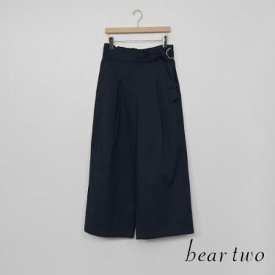 bear two- 簡約腰間扣環寬褲-深藍