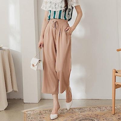 韓系OL造型打褶收腰鬆緊綁帶西裝寬褲-OB大尺碼