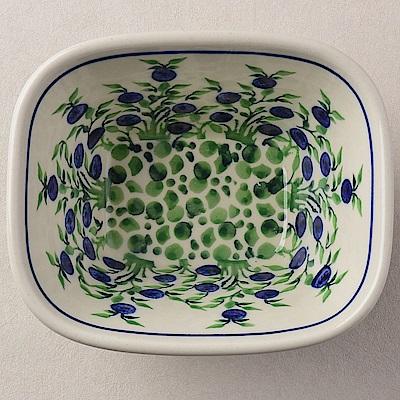 【波蘭陶 Zaklady】波蘭陶 粉紫浪漫系列 方型烤皿 300ml 波蘭手工製