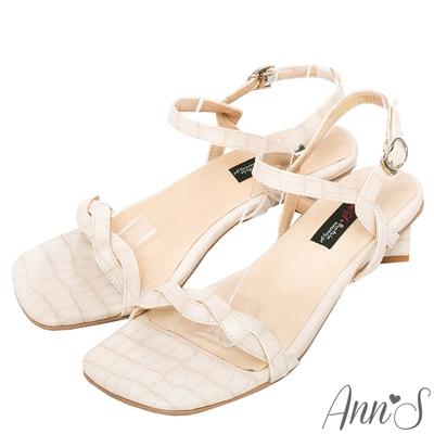 Ann'S氣質麻花石頭紋側V顯瘦方塊粗跟涼鞋-米白(版型偏小)