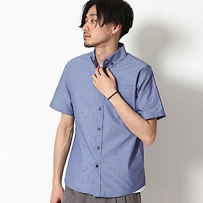 純棉府綢短袖襯衫素色格紋(20色) ZIP日本男裝